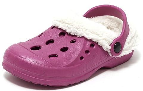 Kinder Warmfutter Clogs Gr. 34 Hausschuhe Gartenschuhe Schuhe gefüttert Himbeere