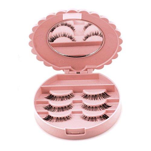 Bonjouree Boîte De Rangement De Faux Cils et Miroir de Maquillage Cosmétique Organisateur