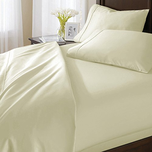 Elenza Luxuriös & Weich 100% ägyptische Baumwolle Bettlaken-Set Passend für Matratzen bis 45,7cm Tief 1000TC Italienisches Finish Queen Elfenbeinfarben (1000 Tc Blatt)