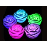 Satyam Kraft 3PC Multicolour Water Floating LED ROSES Tealights Tea Lights Candles LED Lights Diwali Gift/ Home Decor/ Wedding Decor/ Birthday/ Festivals / Anniversary / All Purpose /diwali Decor