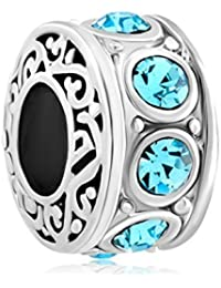 New Silver Plated Filigree Blue Crystal Birthstone Spacer Charm Beads Fit Pandora Jewelry Bracelet by CharmingJewelry