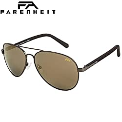 Farenheit Polarized Aviator Unisex Sunglasses - (SOC-FA-9301P-C4|62|Golden Color Lens)