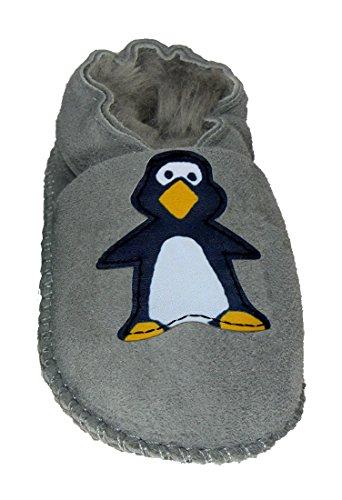 Plateau Tibet - ECHT Lammfell Baby Kinder Schuhe Babyschuhe - Pinguin, Grau (Gray), Gr. 24-25