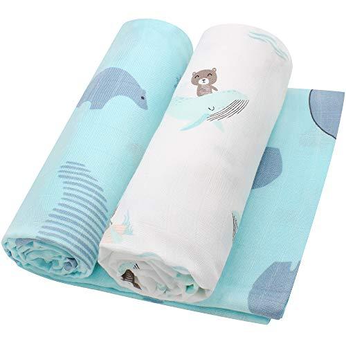 LifeTree Musselin Baby Decke Bambus Baumwolle für Jungen und Mädchen - 2 Stück Pucktücher Kuscheldecke Baby Sommer Baumwolldecke 120x120cm