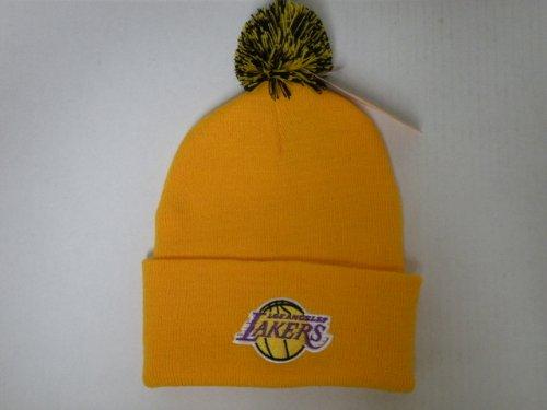 adidas NBA LA Lakers Logo Team Beanie Beanie mit Bommel, Gelb (Lakers Beanie)