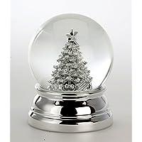 Exclusive bola de nieve con árbol de bañado en plata y no se empaña–6,5cm