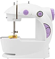Portable 4 in 1 Mini Sewing Machine with Adapter and Foot Pedal,White