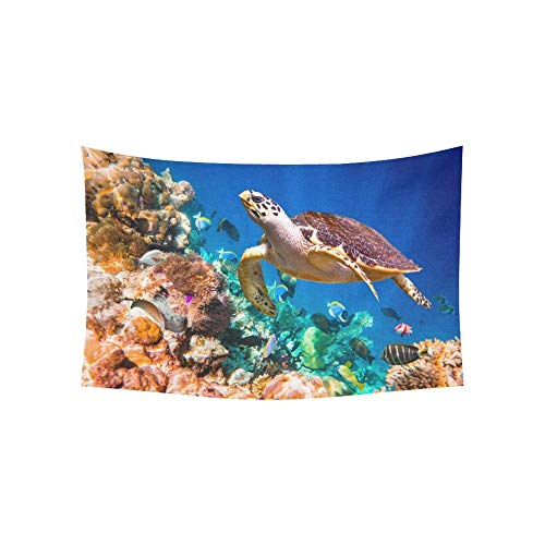 BAOQIN Tapisserie Hawaiian Green Sea Turtle Cruising In The Warm Wat Tapestries Wall Hanging Flower Psychedelic Tapestry Wall Hanging Indian Dorm Decor for Living Room Bedroom 80 X 60 Inch (Wandbehang-quilt-rack)