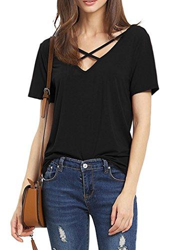 Suimiki Damen Sommer Kurzarm T-Shirt V-Ausschnitt mit Schnürung Vorne Oberteil Tops Bluse Shirt-BLS