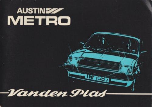 Austin Metro Vanden Plas - Driver's Handbook