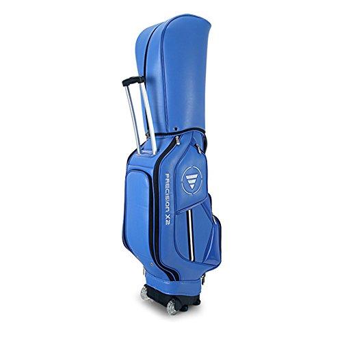 Golftasche Golf Bag Golf Cart Tasche Mit Rädern Golf Club Taschen Multifunktions Aviation Bag-Reise Ball Tasche - Herren Damen - Pu - Super Leichtgewicht 4.75kg - Thick Schulterpolster-Blau / Schwarz / Weiß ( Farbe : Blau )