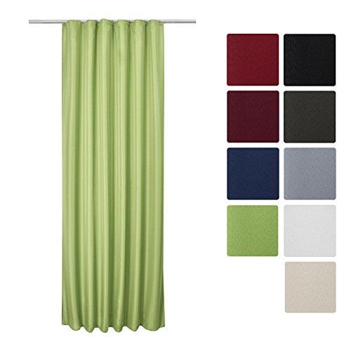 Beautissu Blickdichter Kräuselband-Vorhang Amelie - 140x245 cm Grün - Dekorative Gardine Universalband Fenster-Schal Grüne Gardinen