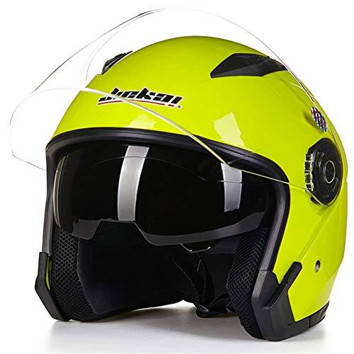 Casco moto casco moto casco quattro stagioni universale a doppia lente (Color : Fluorescent yellow)
