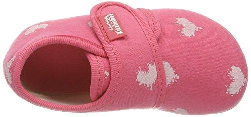 Living Kitzbühel Baby Klett Mit Weißen Herzen, chaussons d'intérieur bébé fille Pink (Flamingo)