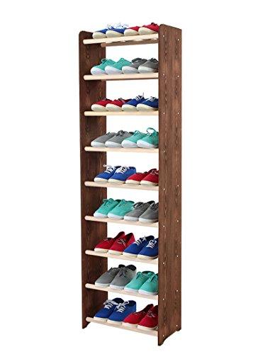 Schuhregal Schuhschrank Schuhe Schuhständer RBS-9-45 (Seiten hellgrau, Stangen in der Farbe weiß)