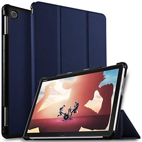 ELTD Hülle für Huawei MediaPad M5 Lite 10,Ultra Lightweight Flip mit Ständer & Eingebautem Magnet Hochwertiges PU Leder Schutzhülle für Huawei MediaPad M5 Lite 10 10.1 Zoll 2018 [Blau]
