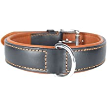 "Comfy LEATHER DOG COLLAR Padded And lined with Lamb's Leather: 22"" Collar- Will Fit 16"" to 20"" (1"" Wide)."