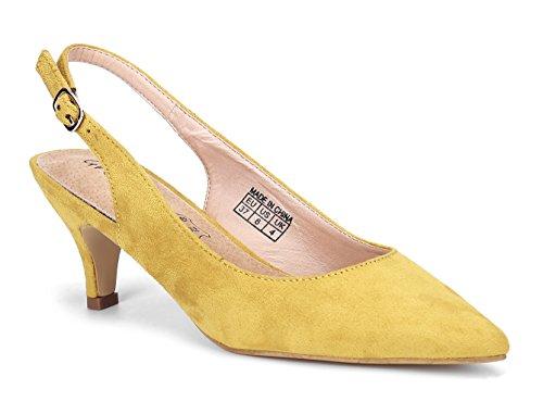 MaxMuxun Pumps Damen Schuhe Spitze Slingback Schnalle Sandalen Tanzschuhe Senfgelb Größe 41 EU (Schnalle Spitze)