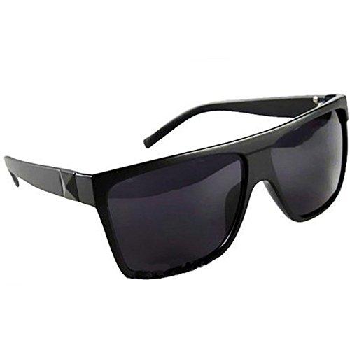 Mode retro quadratisch groß Flat Top Aviator Sonnenbrille Schwarz