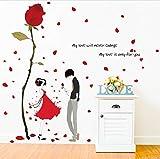 Xqi wangpu Autoadesivo della Parete della Rosa Rossa Amore Romantico Fiore di Rosa Vinile Fai da Te Rimovibile Stickers murali per Soggiorno Camera da Letto Coppie Decorazione della Stanza 120x120cm