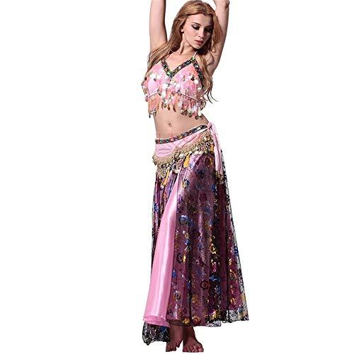 Indian Kostüm Sexy - Taidallo Sommer Sexy Indian Dance Kostüm Show Rock Bauchtanz BH Kostüm Bühnenperformance (Farbe : Purple+pink, Größe : M)