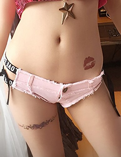 M-Queen Femmes Sexy Hot Mini Denim Jeans Micro Shorts Culotte String Pantalons Taille Basse Clubwear Mini Courts G-string Rose