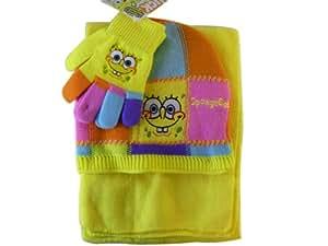 Bob l'Eponge Set de Bonnet, écharpe et gants Rose - Accessoires d'hiver pour les Enfants - Jaune