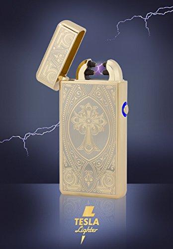 TESLA Lighter T08 | Lichtbogen Feuerzeug, Plasma Double-Arc, elektronisch Wiederaufladbar, Aufladbar mit Strom per USB, ohne Gas und Benzin, mit Ladekabel, in Edler Geschenkverpackung, Kreuz Gold