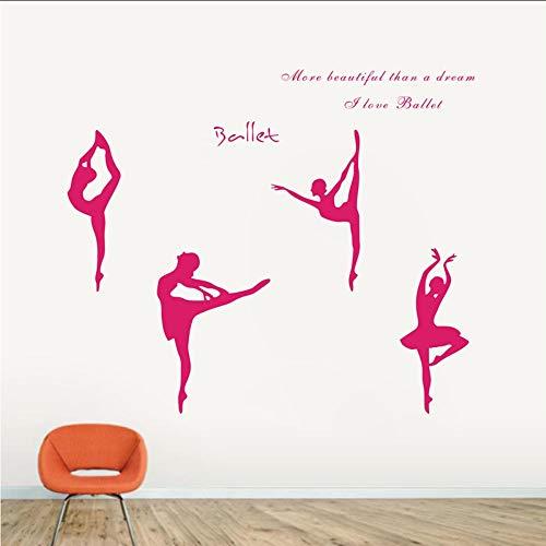 Waofe Große Größe 150X65 CmLiebe Ballett BallettMädchen Wohnungen Wandkunst Aufkleber Aufkleber, Ballett Figuren Aufkleber Cm (Wohnungen Hochzeit Ballett)