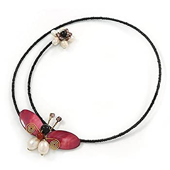 Shell Butterfly & Freshwater Pearl Flower Flex Wire Choker Necklace - Adjustable 7