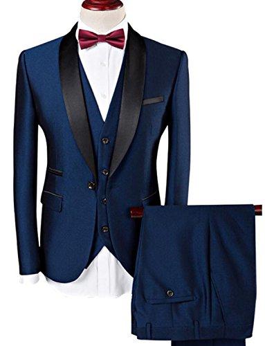 Lilis® Männer Anzug 2017 Hochzeit Anzüge Für Männer Schalkragen 3 Stücke Slim Fit Burgundy Anzug Herren Königsblau Smoking Jacke