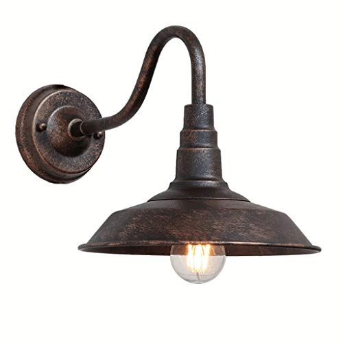 Xgaw E27 Lámpara de pared impermeable al aire libre Retro Bronce Color Hierro Arte Luz de pared Estilo...