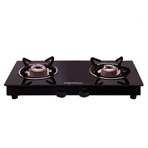 Bright Flame Kitchen Essentials 2 Burner Black Gas Stove Compact