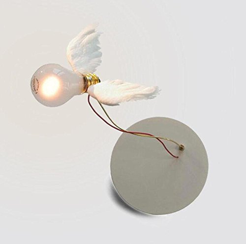 DENG Appliques Moderne Birdie Plume Aile LED Simple création personnalité E27 Abat-Jour en Fer Applique Décoration intérieure Éclairage de Chevet Éclairage de luminaire