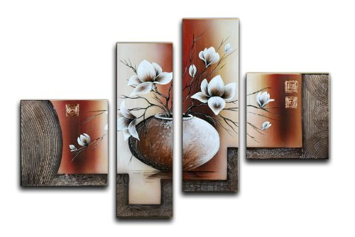 Wieco Art - Large Size Decorative Elegant Flowers 4 Panels 100% Hand Painted Modern Contemporary Artwork Floral Oil Paintings on Canvas Wall Art for Home Decorations Wall Decor L