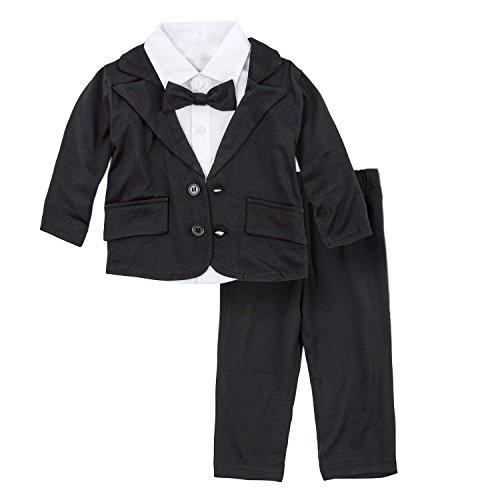 Big Elephant Bebés 3 piezas traje formal pantalones conjunto de ropa negro E16