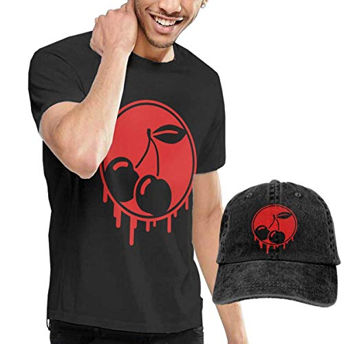 Henrnt T-Shirts Herren, Graffiti Cherry T-Shirts Short Sleeve Denim Hats