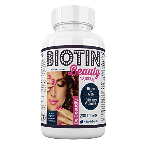 Biotin Beauty - Hair Growth Vitamins - 12,000mcg Biotin Maximum Strength - Added MSM plus 10 Powerful Hair, Skin and Nail Vitamins - The World's Strongest Biotin Supplement - 200 Tablets - 100 Mcg 60 Tab