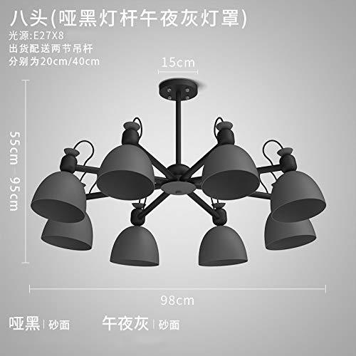 Jane Lampe européenne en fer forgé 8 têtes - lampadaire noir stupide + abat-jour gris minuit avec ampoule blanche à 9 watts