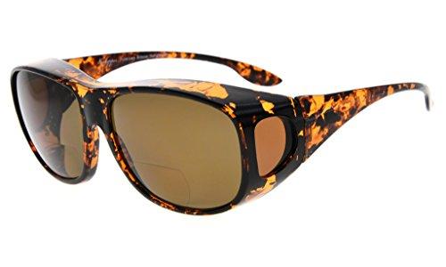 Eyekepper Übergröße Polarisiert Bifokale Sonnenbrille Fitover Polycarbonat Polarisierte Sonnenbrille Sonnenscheinleser über normale Gläser zu tragen (Schildkröte/Braun Linse, 2.00)