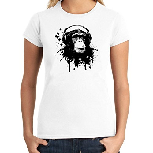 OM3 - DJ-APE - Damen T-Shirt DeeJay Turntables Monkey Headphone Music Master MC Cool Reggae Geek, S - XXL Weiß