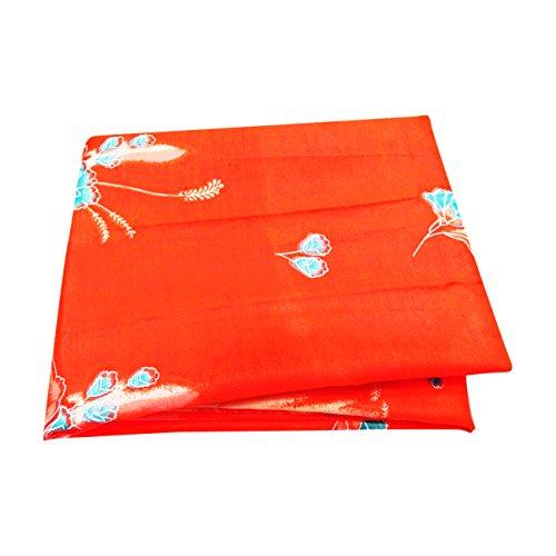 PEEGLI Jahrgang Gedruckt Saree Orange Seide Mischung DIY Recycling Vorhang Drapieren Sari (Drapieren Sari Vorhang)