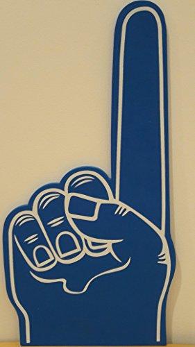 Riesige Hand aus EVA-Schaumstoff (Ethylen-Vinylacetat), bedruckt, Motiv: erhobener Zeigefinger, blau