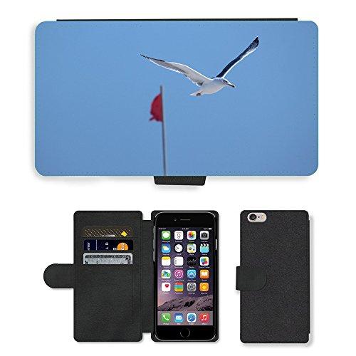 Just Mobile pour Hot Style Téléphone portable étui portefeuille en cuir PU avec fente pour carte//m00140307Oiseau Mouette mer océan Nature ciel//Apple iPhone 6Plus 14cm