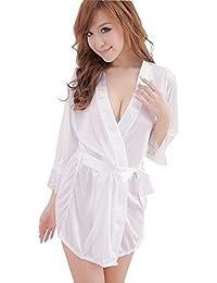 SHINA Mujer Bata de Dormir Pijama de Imitación Seda Slip Vestido de Cinturón Ropa de Dormir de Encaje Seducción Lencería Ropa de Noche
