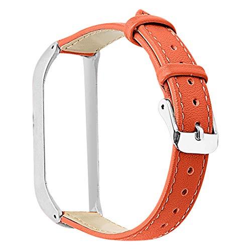 Feinny Austauschbares Lederband mit Handschlaufe + Metallschutzrahmen, kompatibel mit XiaoMi4 Smart-Armband, Handgelenkumfang: 170-220mm(Silberrahmen)