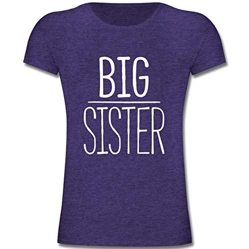 Geschwisterliebe Kind - Big Sister - 128 (7-8 Jahre) - Lila Meliert - F131K - Mädchen Kinder T-Shirt - Big Kinder Bekleidung Lila