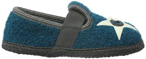 Haflinger Jungen Sharpa Flache Hausschuhe Blau (Petrol 16)
