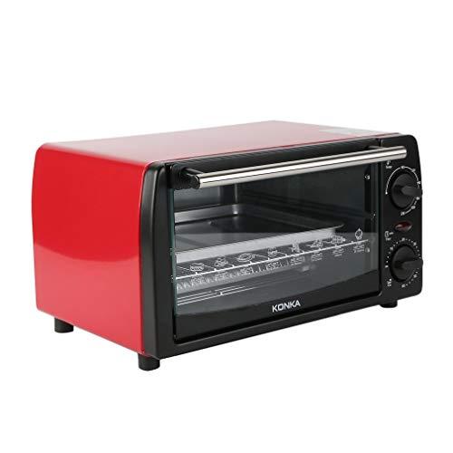 KONKA 12 L 1050W Mini-Backofen mit Umluft | Elektrischer ofen | Mini Pizzaofen Küche mit Backformen, Grillrost,Backblechklammer (90-230 Grad Stufenlose Temperaturregelung,60 Minuten Timer) Rot