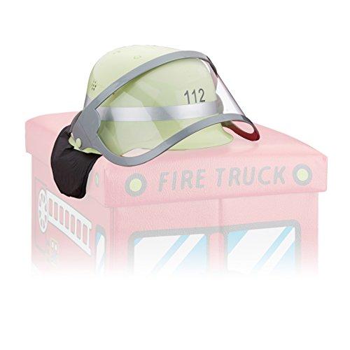 Kostüme Mädchen Kleinkind Feuerwehrmann (Relaxdays Feuerwehrhelm Kinder, verstellbar, klappbares Visier, Nackentuch, Feuerwehr, HxBxT: 24,5 x 22,5 x 28 cm,)